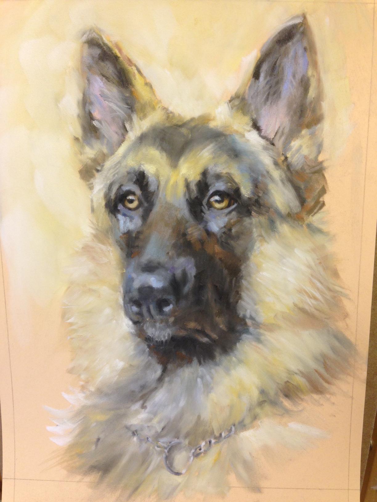 Finished painting: German Shepherd – PanPastel on Pastelmat – 11 ...