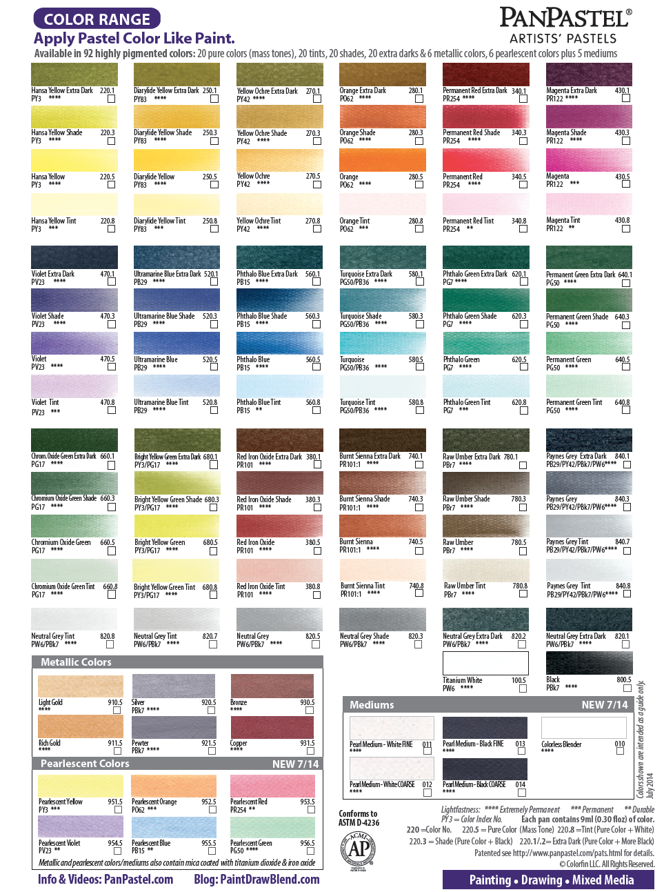 Color chart paint draw blend for Oil paint colors names