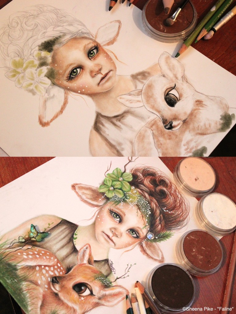 FALINE - PROCESS DEMO - PANPASTEL COLORED PENCIL- SHEENA PIKE-001