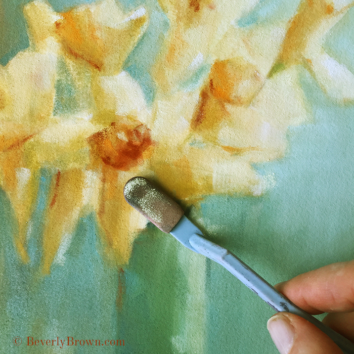 painting-daffodils-panpastel-beverly-brown