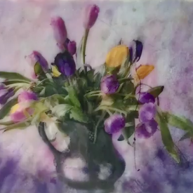 Encaustic / Photo - Tulips